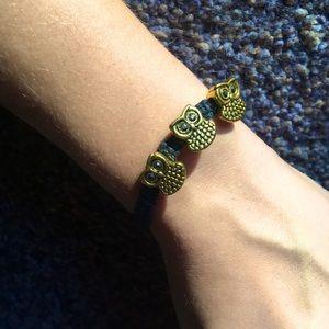 NWT Gold Owl Charm Adjustable Rope Bracelet